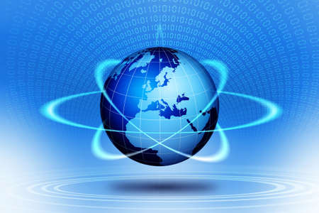 technological: World globe technological action. Stock Photo