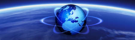 web access: Horizon and world map. Global tech banner illustration. Globe and navigational header.