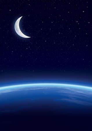 Galaxy with stars, horizon background. Stars and horizon background photo