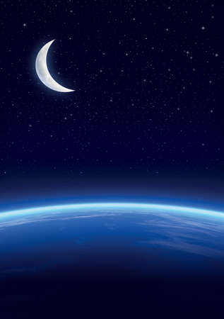 nights: Galaxy with stars, horizon background. Stars and horizon background