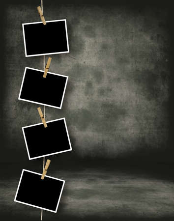 Old Photograph Film Blanks Hanging on a Rope Held By Clothespins Stock Photo - 4559539