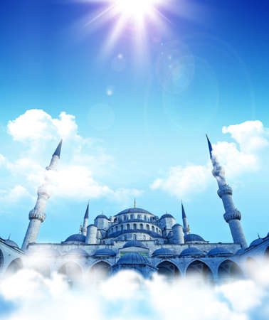islamic pray: islamic fantasy. Blue mosque dreams. Cloud top  mosque.