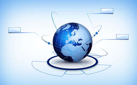 Global communication illustration with technical elements. Virtual communication world. illustration