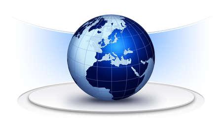 Global communication illustration with technical elements. World globe creative background illustration