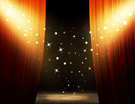 Show time. Red Theater Stage.  Stock Photo