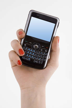 phone message: Hand holding pda cell phone. Hand holding pda cell phone with empty screen
