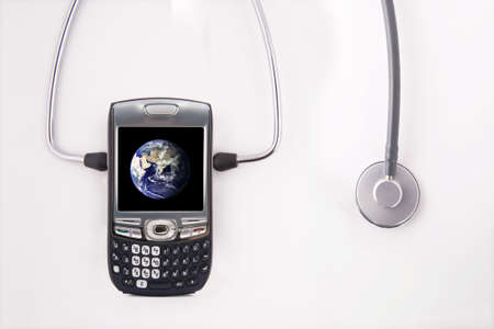 Healthy global communication.  Health control consept of communication