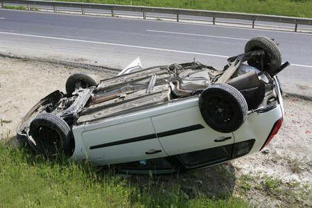 Traffic accident. Car crash. Car flipflop photo
