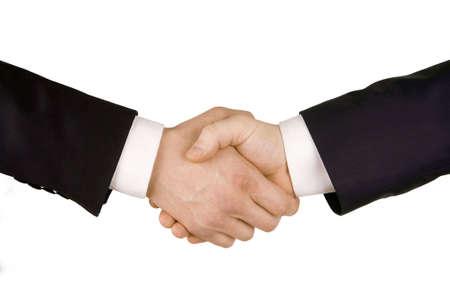 Business handshake. Image of businesspeople handshake on the white background.