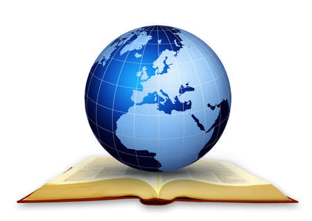 bible open: Global libraryGlobal education concept working..