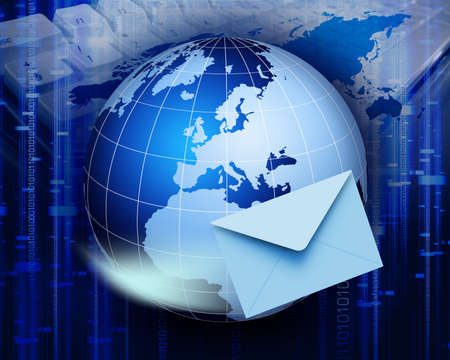 Global e-mail technology. Internet and e-mail concept. Global communication.