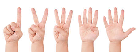 Child finger numbers. Human little countdown hand photo