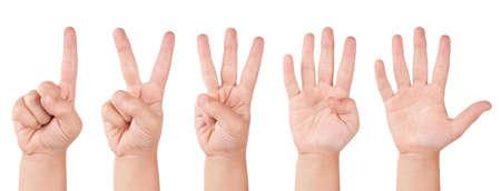on fingers: N�meros de dedo de ni�o. Mano de cuenta atr�s poco humana