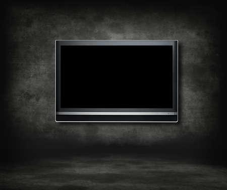 Concept de télévision salle gothique.Télévision à écran large dans une salle gothique.