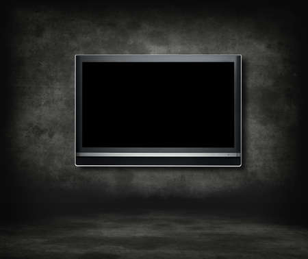 Gotische zaal televisie concept. Breed beeld televisie in een gotische kamer.