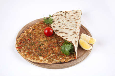 Turkish pizza - Lahmacun. Turkish food.  Stock Photo