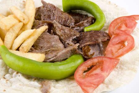 donner: Turkish doner kebab. Donner kebab detail.
