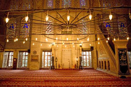 prayer candles: Sultanahmet mosque interior. Mosque interior.