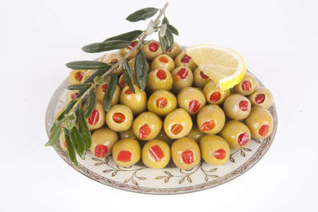 Green  olive. Pepper stuffing green olive Stock Photo