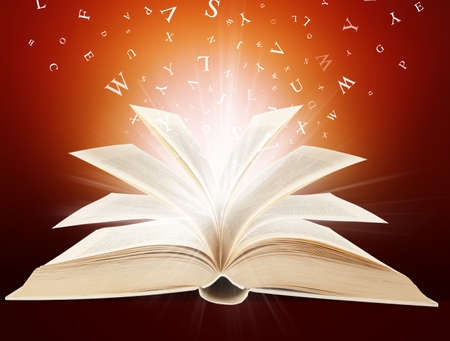 Magic book in letters  Stock Photo