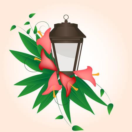 streetlight: streetlight entwined flowers calla lilies with leaves Illustration