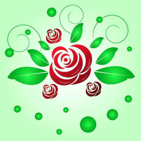 curls: red rose with green leaves and curls