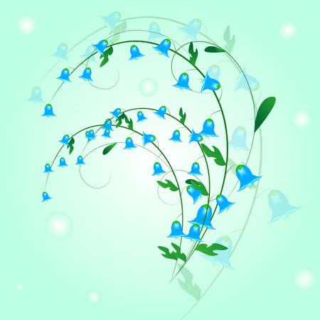 a sprig: sprig of blue bells with leaves