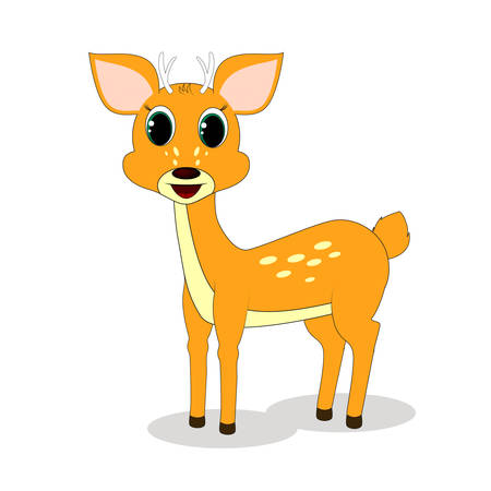white tail deer: deer standing on a white background Illustration