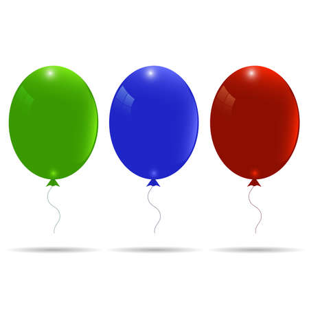 wedding  art: a set of three balloons, red, blue and green. Illustration