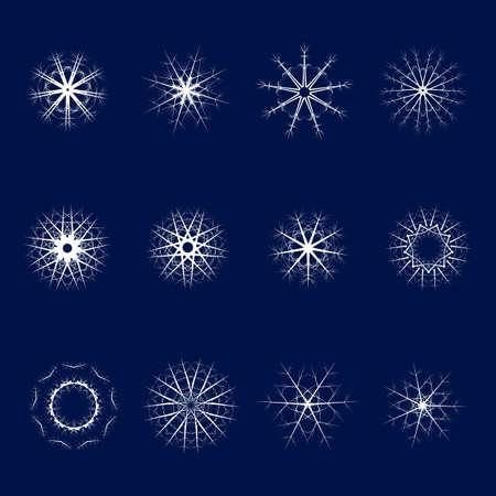 white symbol: Set of twelve snowflakes on a blue background