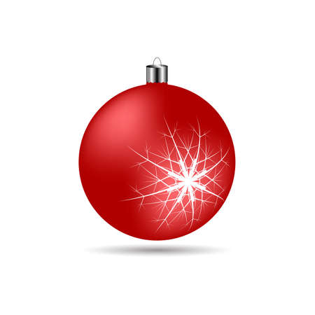 matte: Christmas ball with snowflakes matte red color on a white background