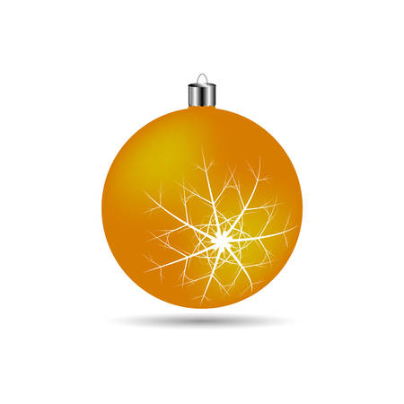 matte: Christmas ball with snowflakes matte orange color on a white background
