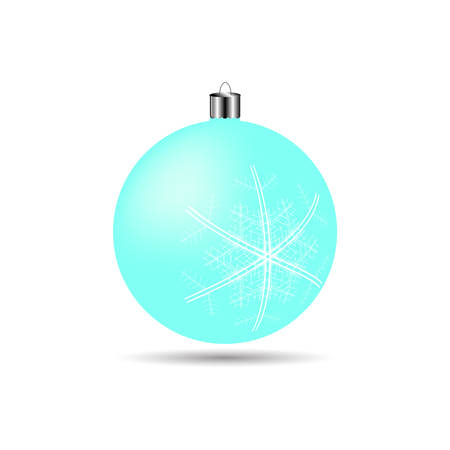matte: Christmas ball with snowflakes matte light blue color on a white background