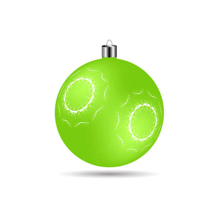 Christmas ball with snowflakes matte light green color on a white background Illustration