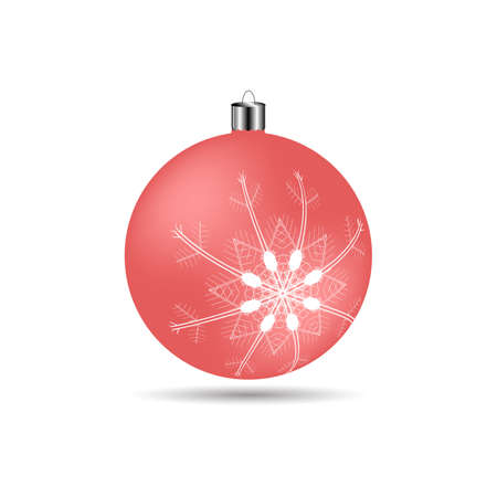 matte: Christmas ball with snowflakes matte light red color on a white background Illustration