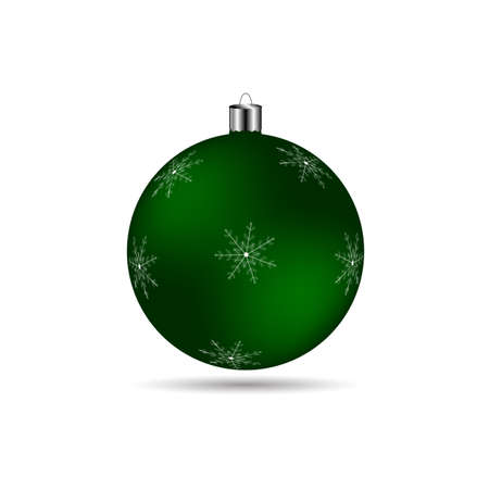 matte: Christmas ball with snowflakes matte green color on a white background