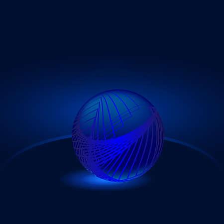 dark blue background: Glowing blue ball abstraction on a dark blue background