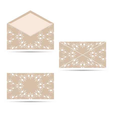 seamy: An envelope with a circular ornament. The face and seamy side