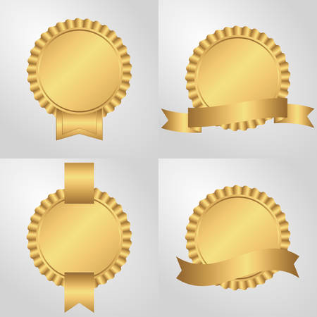 sockets: Set of four sockets with ribbons, golden. On a light background Illustration