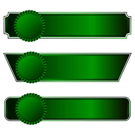green ribbon: A set of three rosette with horizontal ribbons of green on a dark background