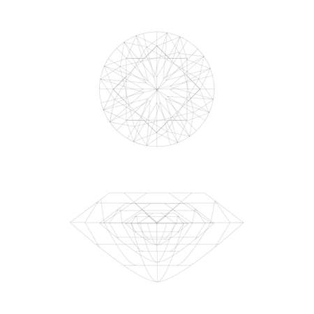 karat: Two diamond wireframe on a white background Illustration