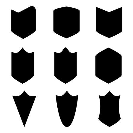 shape silhouette: Set of nine sheets of stencils on a white background