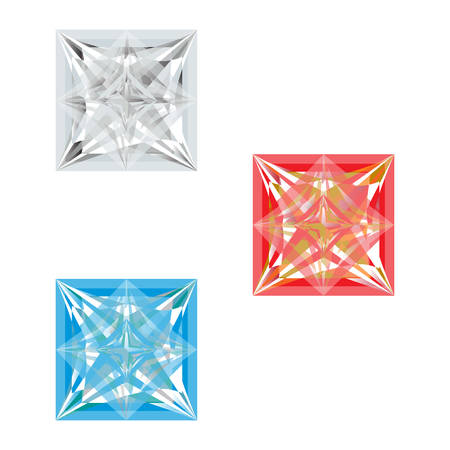 fiancee: Set of three multi-colored stoneson a white background