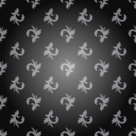 dark gray: Seamless ornament pattern with light gray on a dark gray background. Vector