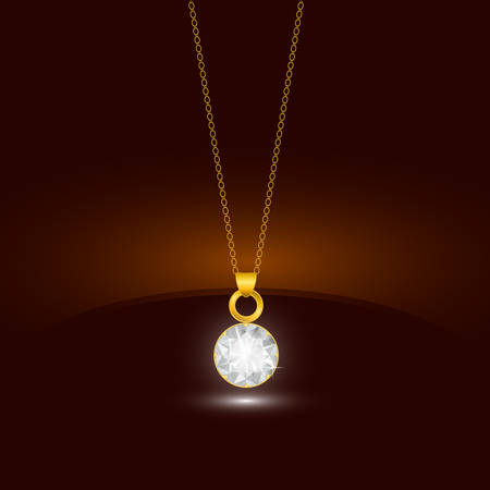diamond necklace: Golden chain necklace with round diamond pendant. Jewelry design. Vector.