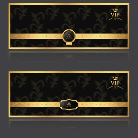 VIP set of two banners. Gold. Vector