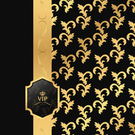 ribbon background: VIP background, members onlyBlack and gold background with vertical ribbon and square VIP logo. Vector