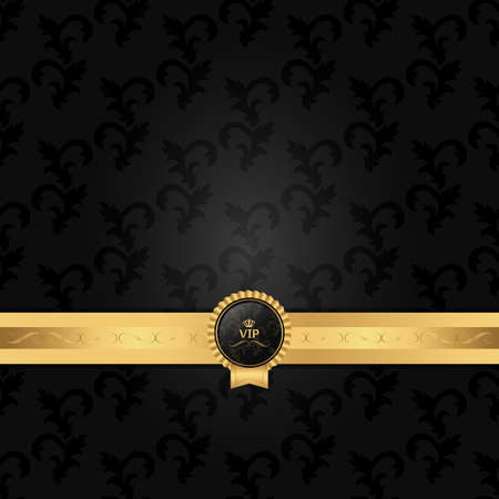 gray strip: Dark gray background with a horizontal strip and circular VIP logo. Vector