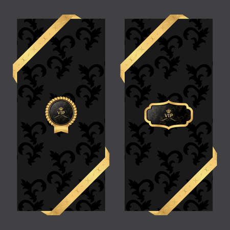 glamour luxury: Set of two vertical banners on a dark background with ribbons and VIP round and oval logo. Vector