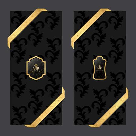 Conjunto de dos banderas verticales sobre un fondo oscuro con cintas y cuadrada VIP y logotipo ovalado. Vector